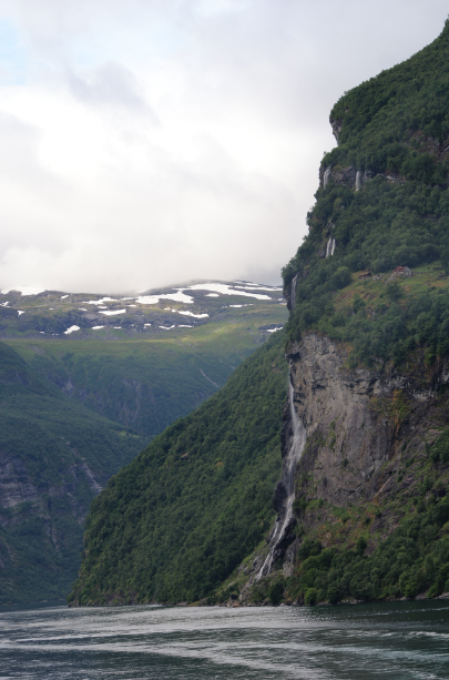 Waterfalls in Geirangerfjord, a romantic legend